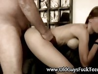Pretty young chick fucks lucky old fat guy